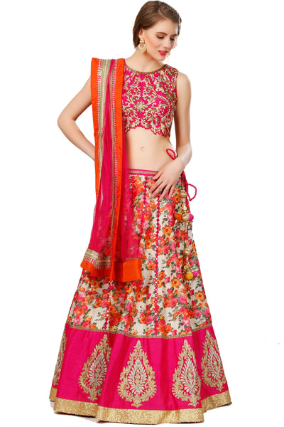 Indi Fashion Printed Lehenga set With red Embroidered Choli