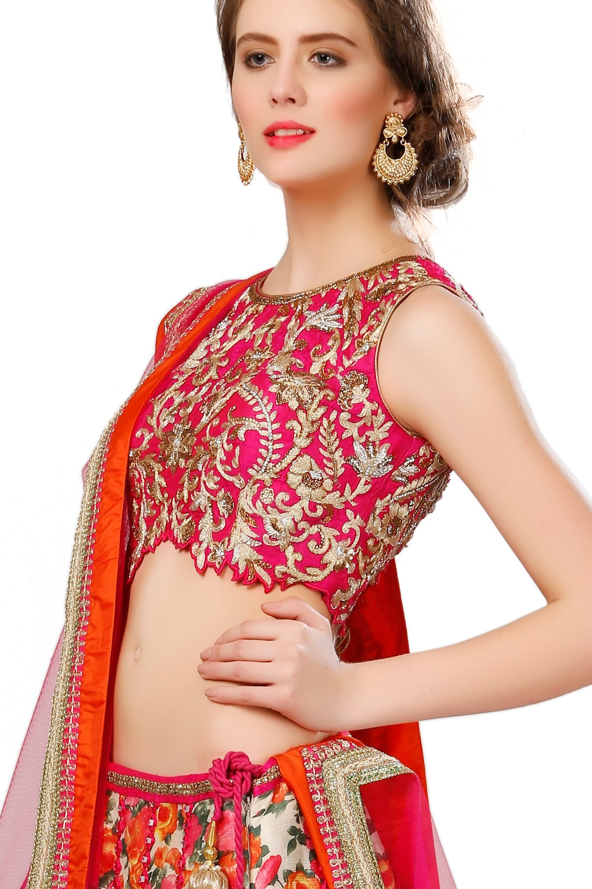 Buy Printed Lehenga set With red Embroidered Choli Online at indi.fashion