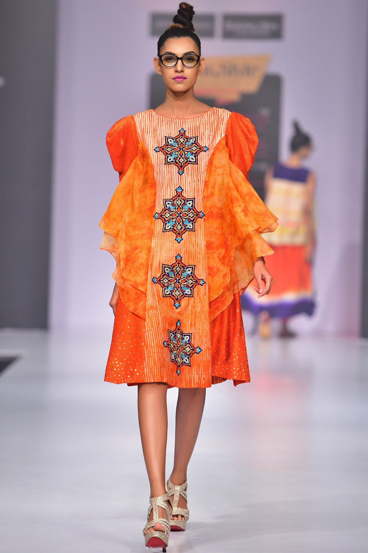 Buy Orange Textured Shaded Dress With Tie And Dye Organza Tiers And Puff Sleeves Online at indi.fashion