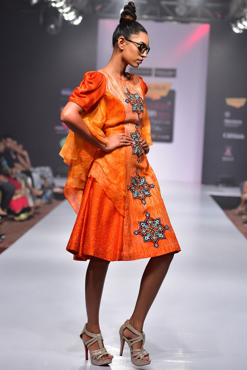 Indi Fashion Orange Textured Shaded Dress With Tie And Dye Organza Tiers And Puff Sleeves