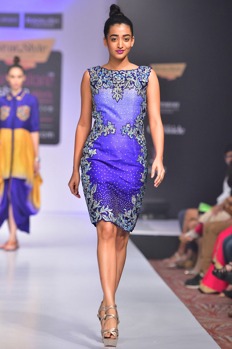 Indi Fashion Violet Ombre Raw Silk Embroidered Dress