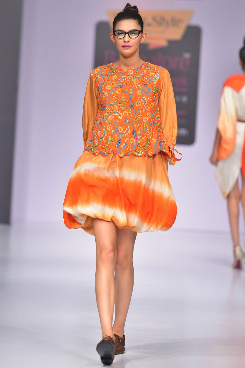 Indi Fashion Orange Silk Shaded Balloon Dress With Hand Embroidered Raw Silk Jacket