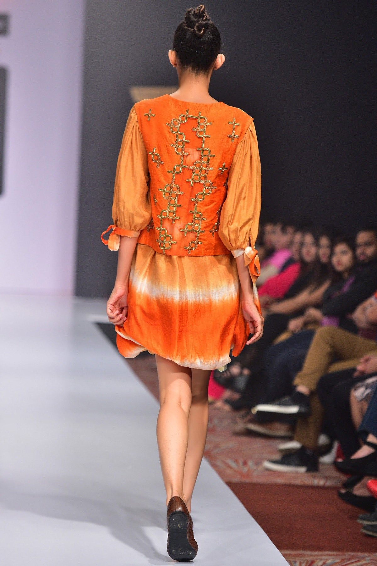 Buy Orange Silk Shaded Balloon Dress With Hand Embroidered Raw Silk Jacket Online at indi.fashion