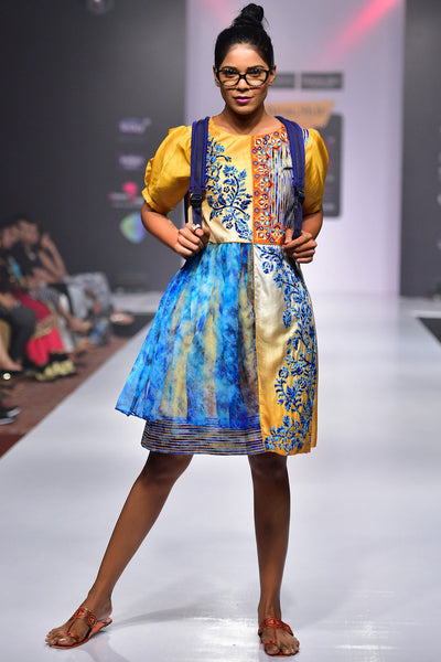 Buy Embroidered Ombre Dress With Chiffon Embroidery Online at indi.fashion
