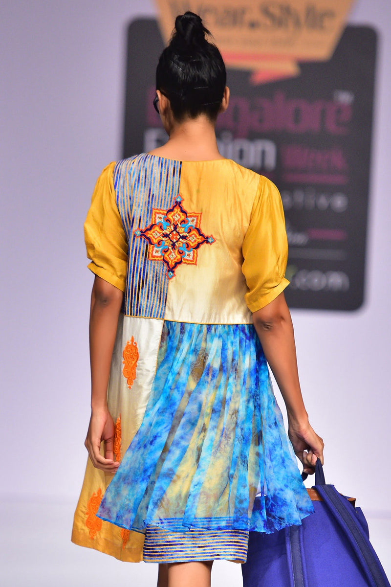 Indi Fashion Embroidered Ombre Dress With Chiffon Embroidery