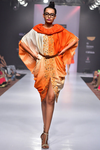 Buy Orange Ombre Raw Silk Draped Dress With Chiffon Hand Embroidery Online at indi.fashion