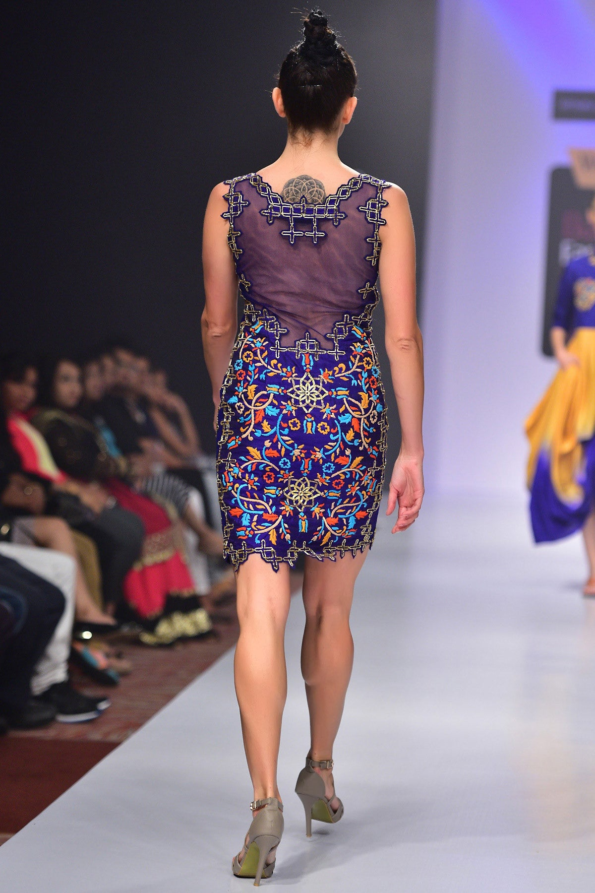 Buy Violet Hand Raw Silk Hand Embroidered Dress With Chiffon Embroidery Online at indi.fashion