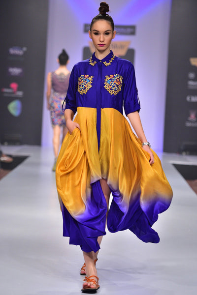 Buy Violet Pure Silk Shirt With Silk Shaded Dhoti Online at indi.fashion