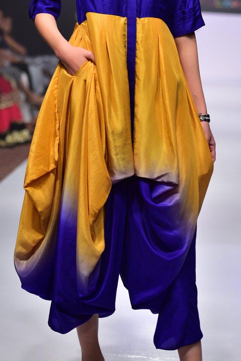 Indi Fashion Violet Pure Silk Shirt With Silk Shaded Dhoti