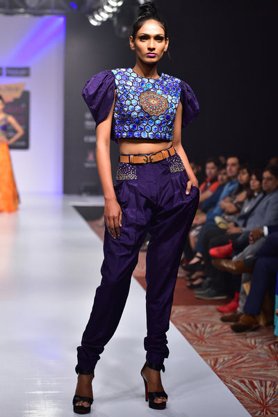 Buy Violet And Blue Embroidered Silk Top With Violet Silk Pleated Trousers Online at indi.fashion