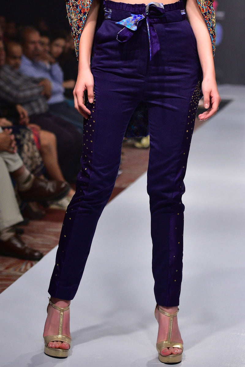 Indi Fashion Hand Embroidered Cape Blouse With Violet Silk Trousers