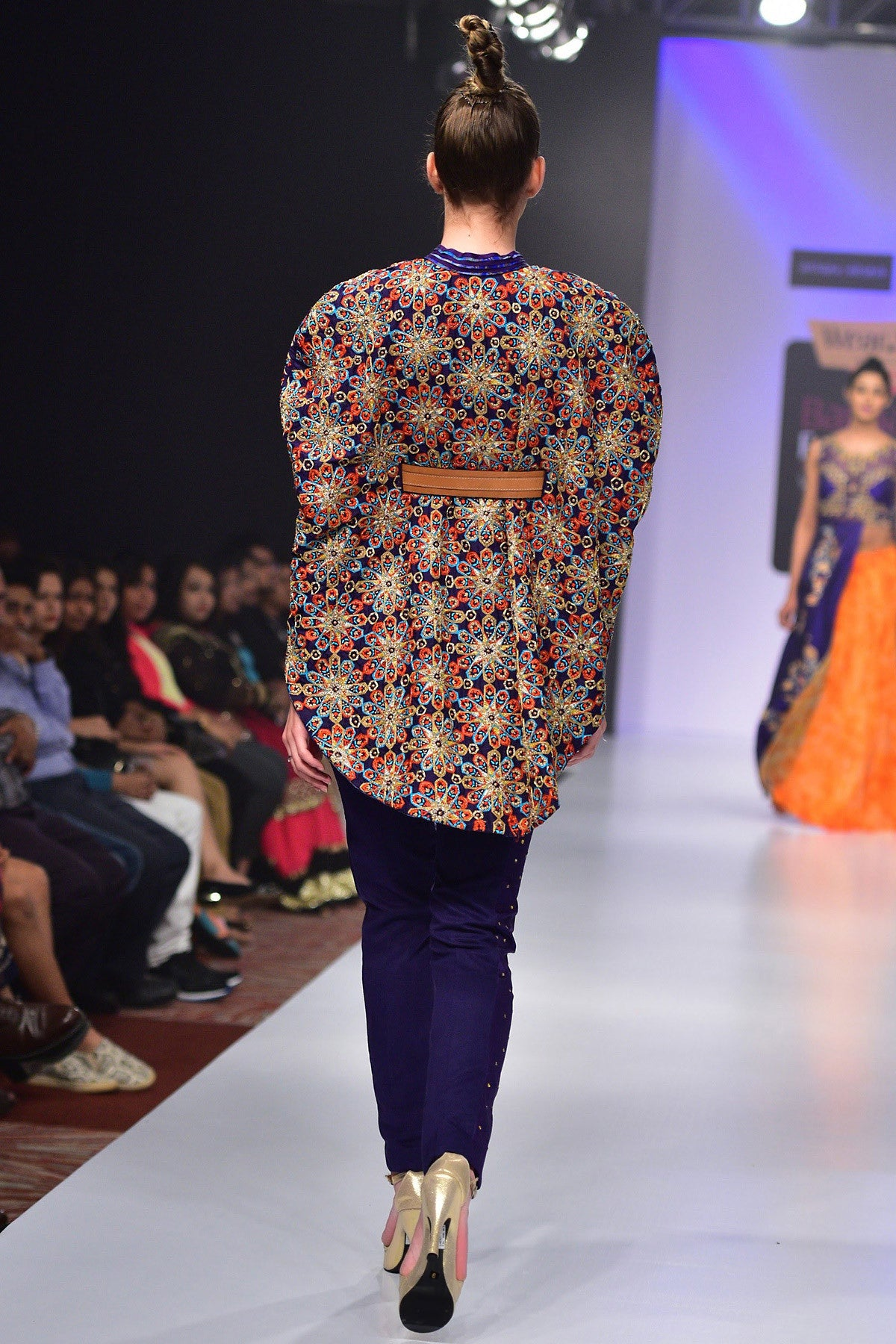 Buy Hand Embroidered Cape Blouse With Violet Silk Trousers Online at indi.fashion