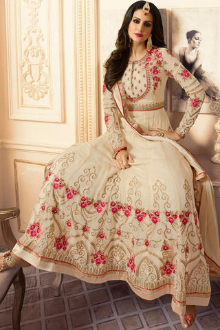 Indi Fashion Cream Georgette Ankle Length Party Wear Suit