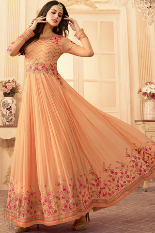 Indi Fashion Peach Georgette Ankle Length Party Wear Suit