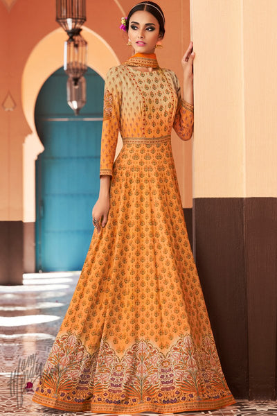 Orange Shaded Cotton Satin Party Wear Gown