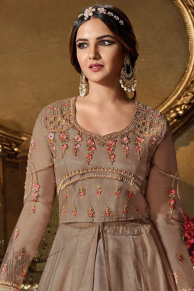 Coffee Net Party Wear Lehenga Style Suit