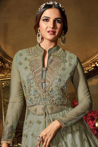 Sage Green Net Party Wear Lehenga Style Suit