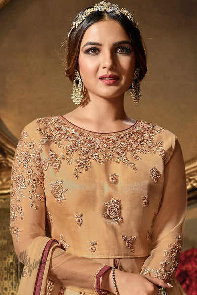 Sepia Net Party Wear Lehenga Style Suit