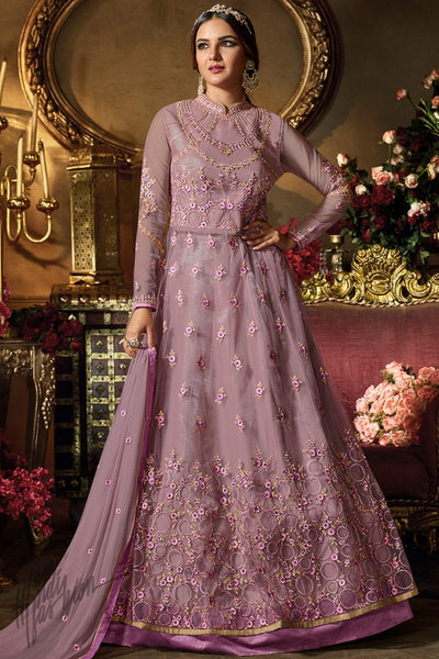 Lilac Purple Net Party Wear Lehenga Style Suit