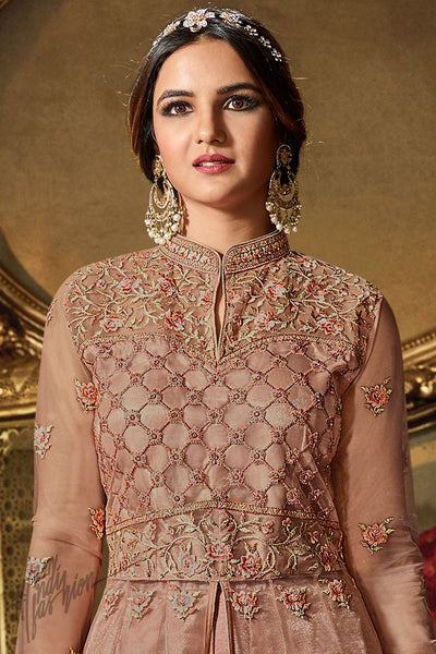 Brown Sugar Net Party Wear Lehenga Style Suit