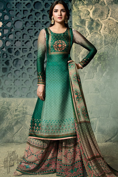 Green Shaded Shaded Satin Georgette Palazzo Suit