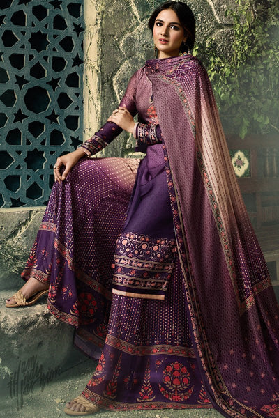 Violet Shaded Shaded Satin Georgette Palazzo Suit