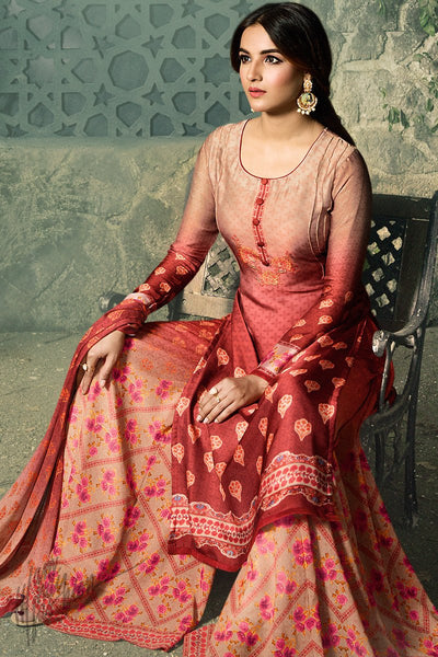 Maroon Shaded Shaded Satin Georgette Palazzo Suit