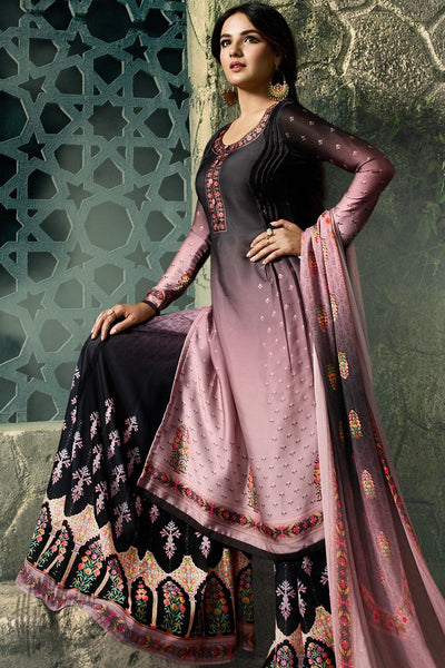 Black and Crepe Pink Shaded Shaded Satin Georgette Palazzo Suit