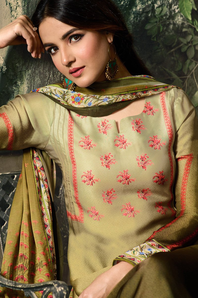 Mehandi Green Shaded Shaded Satin Georgette Palazzo Suit