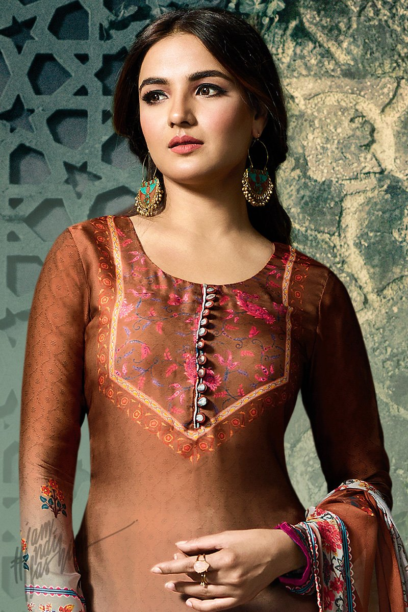 burnt Umber and Gray Shaded Shaded Satin Georgette Palazzo Suit