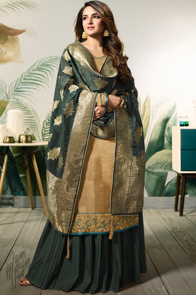 Sepia and Dark Green Satin Silk Palazzo Suit