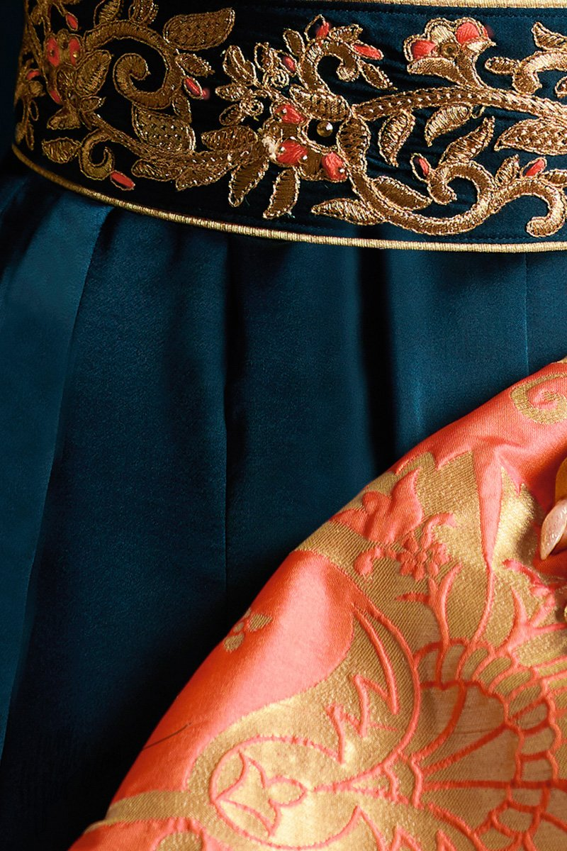 Navy Blue and Peach Satin Georgette Party Wear Suit