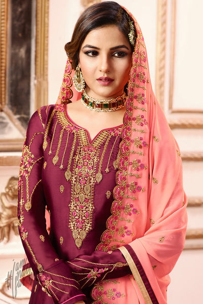 Wine and Peach Satin Georgette Sharara Suit