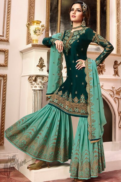 Bottle Green Satin Georgette Sharara Suit