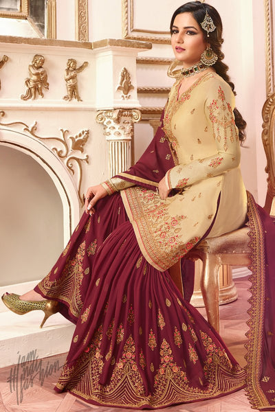 Beige and Maroon Satin Georgette Sharara Suit