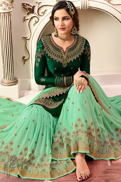 Forest Green Satin Georgette Sharara Suit
