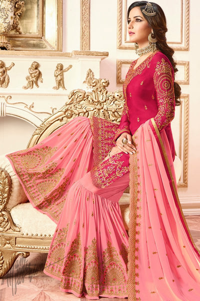 Cherry Red and Pink Satin Georgette Sharara Suit