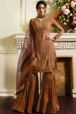 Brown Georgette Sharara Suit