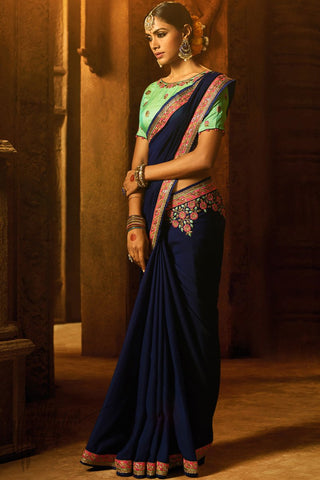 Indi Fashion Navy Blue and Pista Green Silk Party Wear Saree