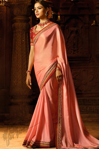 Indi Fashion Peach and Red Silk Party Wear Saree