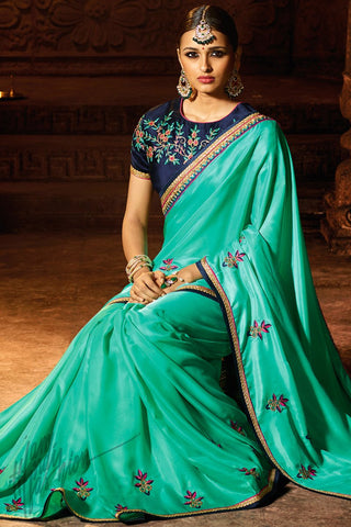 Indi Fashion Green and Navy Blue Silk Party Wear Saree