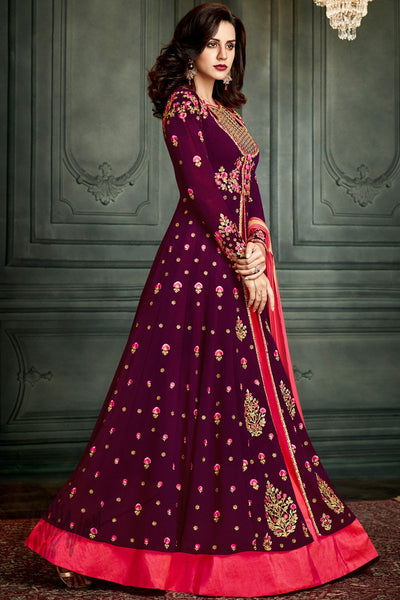 Indi Fashion Purple and Hot Pink Georgette Lehenga Style Suit