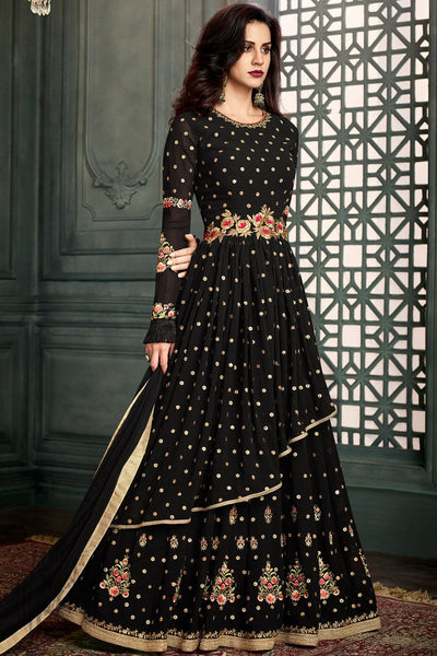 Indi Fashion Black Layered Georgette Party Wear Floor Length Suit