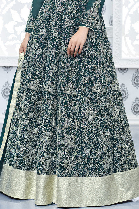 Indi Fashion Green and Silver Faux Georgette Party Wear Anarkali Suit