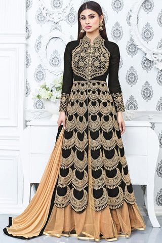 Indi Fashion Black and Beige Faux Georgette Party Wear Lehenga Set