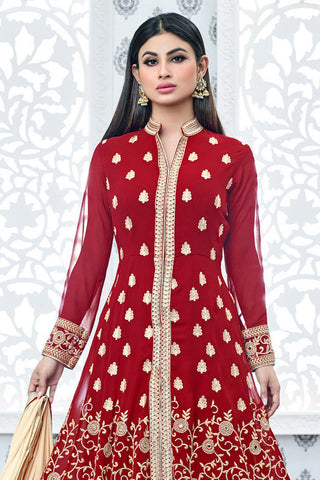 Indi Fashion Red and Silver Faux Georgette Party Wear Anarkali Suit