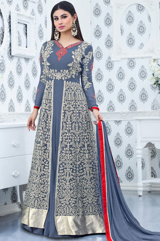 Indi Fashion Gray and Silver Faux Georgette Party Wear Anarkali Suit