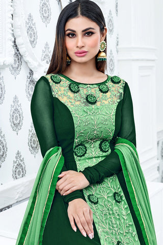 Indi Fashion Bottle Green and Light Green Semi Georgette Party Wear Suit