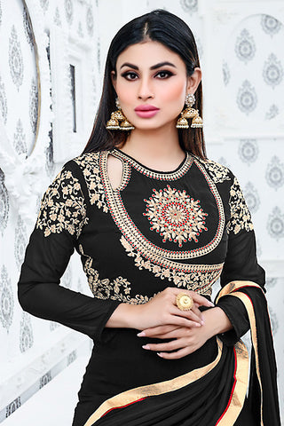 Indi Fashion Black and Beige Semi Georgette Party Wear Suit