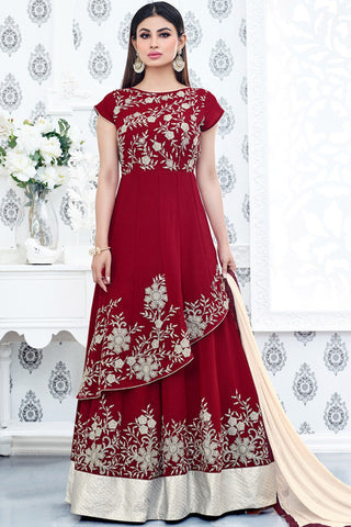 Indi Fashion Red and Cream Double Layered Semi Georgette Party Wear Suit